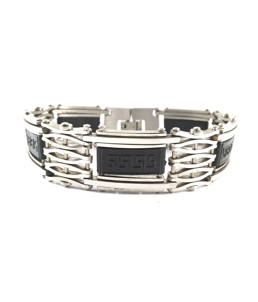 Ammvi Creations Greek Symbol - Badge Hallmarked Stainless Steel Thick And Broad Bracelets For Men