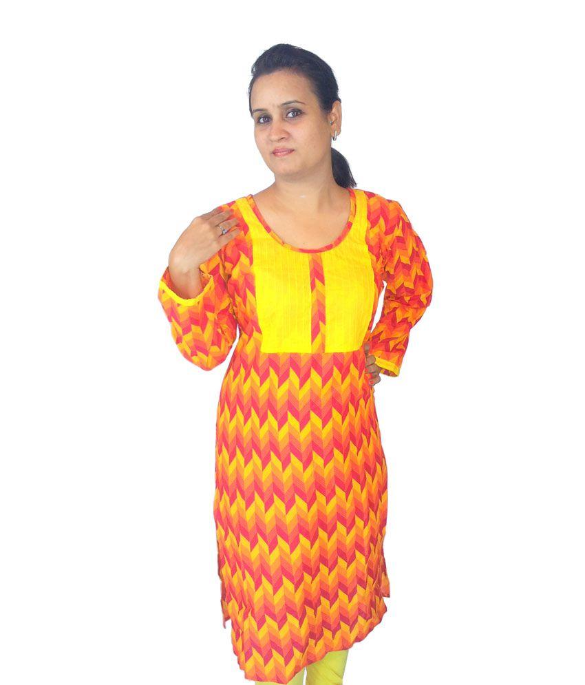 Bpt Orange Cotton Printed Kurti