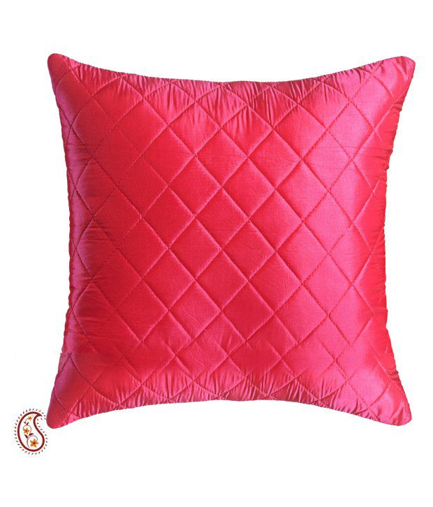 Bright Red Quilted Poly Silk Decorative Cushion Cover Set (2 Pcs)