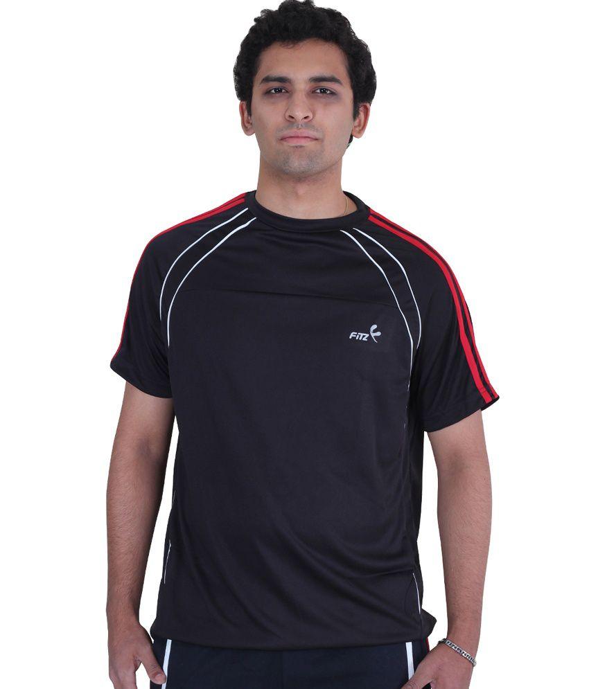 Fitz Black Round Polyester Half T-shirt