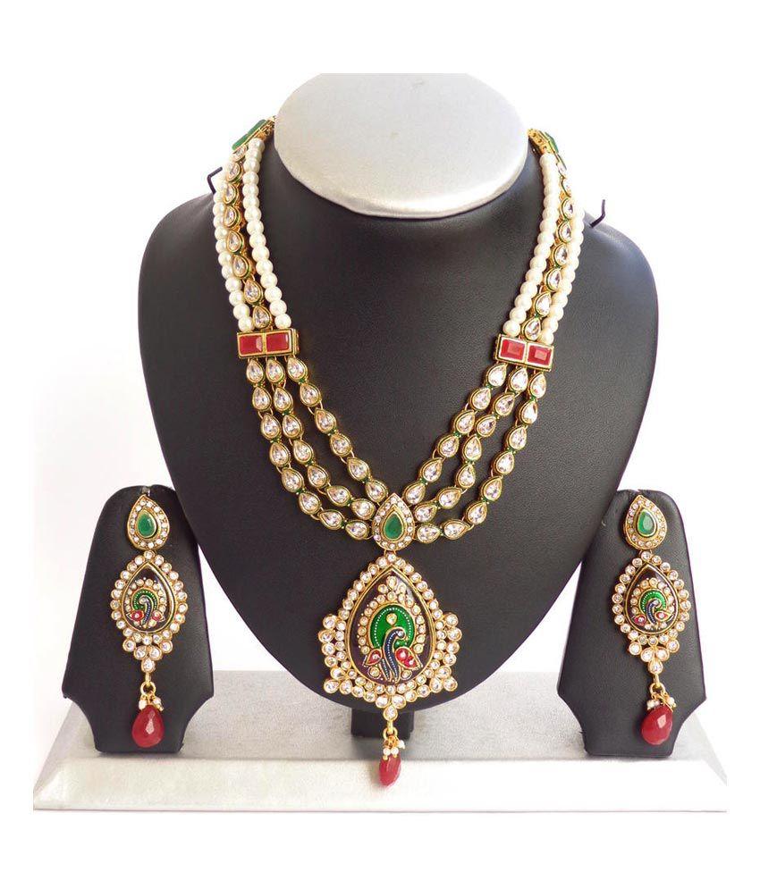 Antique Gold N Jadtar Set: Nishiratna Antique Finishing Gold Plated 1 Gram Necklace