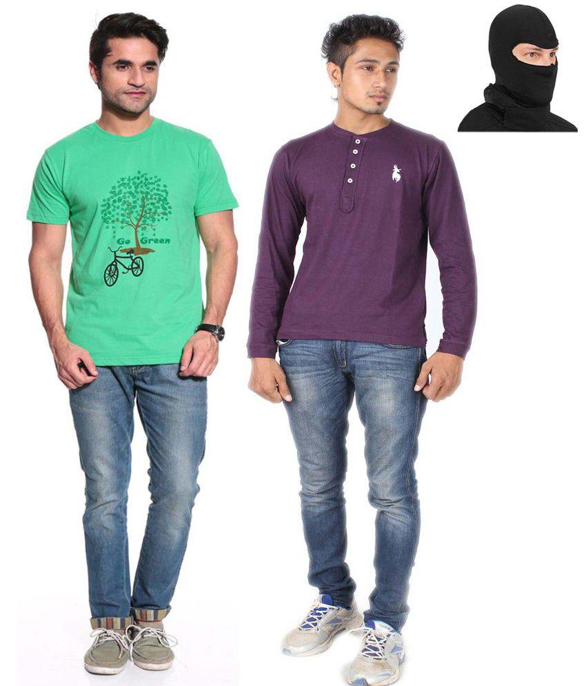 Posh 7 Green & Purple Combo Of 2 Henley T Shirt+1 Mask Free