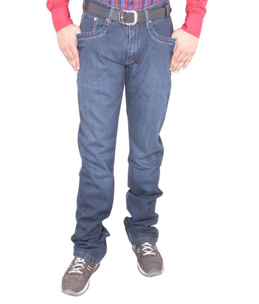 Regale Blue Cotton Straight Fit Denim Jeans