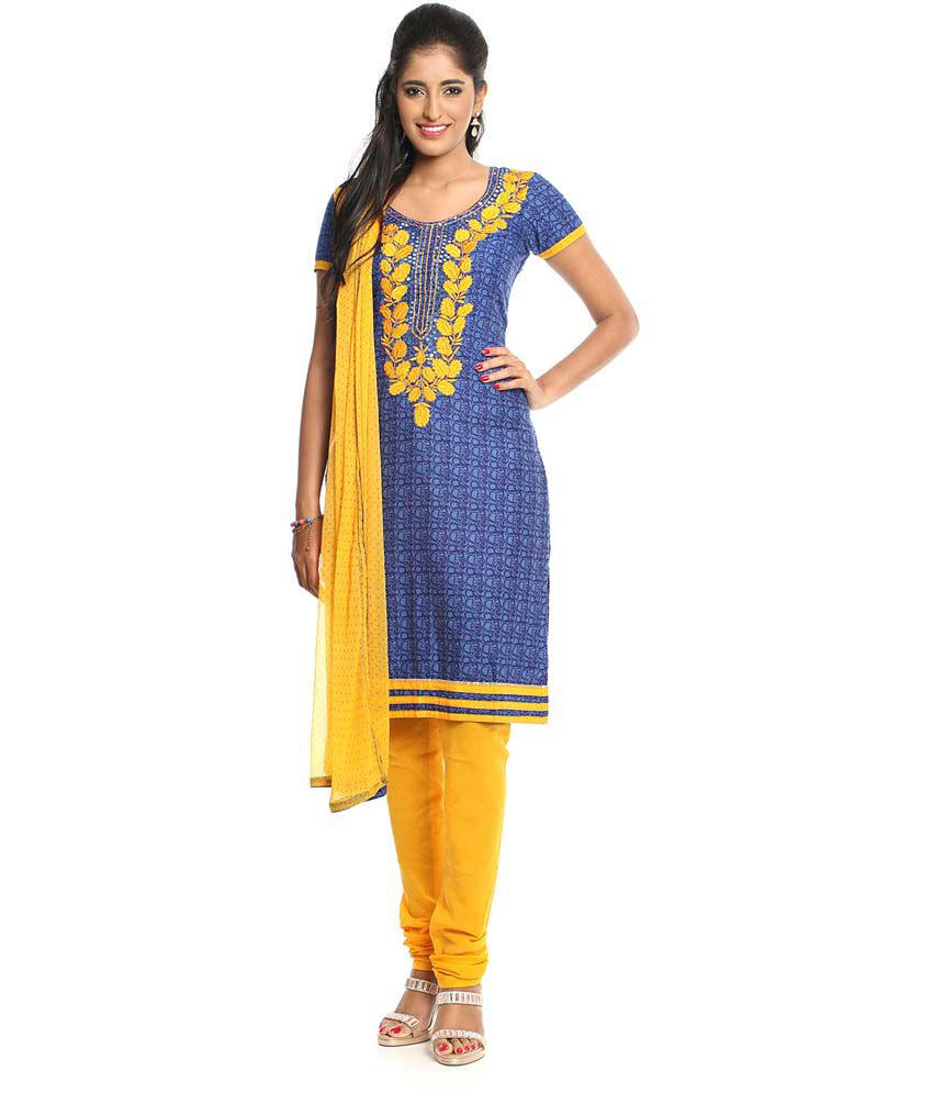 Soch Blue And Yellow Embroidered Cotton Dress Material