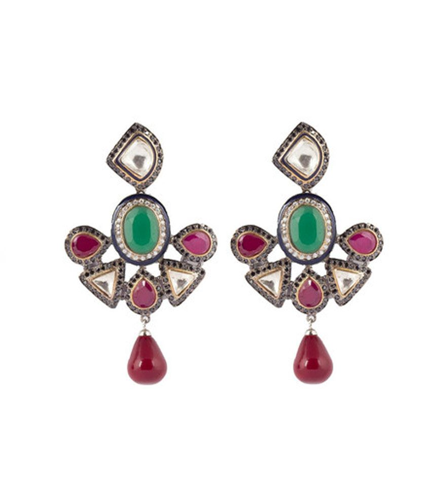 Sri Laxmi Jewellers Red Sunshine Alloy Party Jhumki