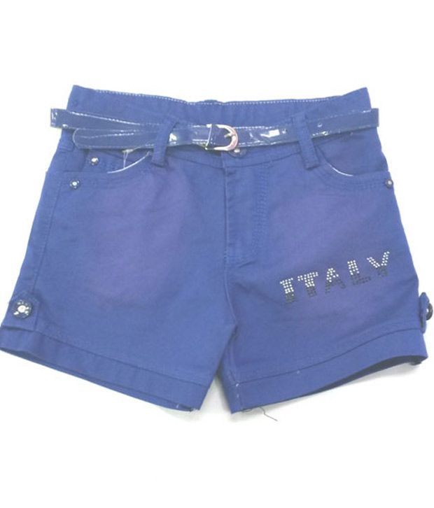 4s Blue Cotton Shorts With Blue Colour Girls Belt Worth Rs 50/-