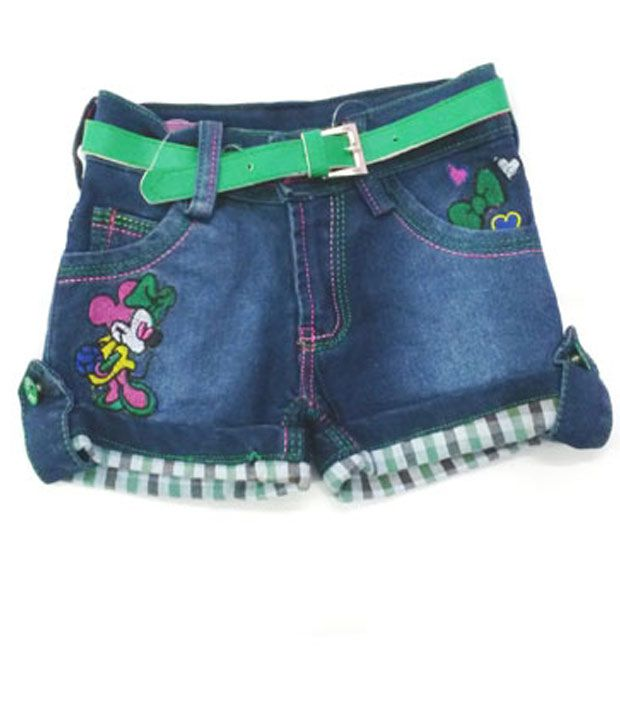 4s Fancy Blue Denim Shorts With Green Colour Girls Belt Worth Rs 50/-
