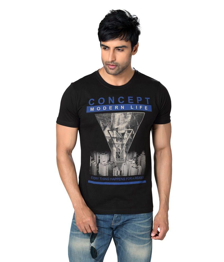 Astron Stylish Black Round Neck Sinker Half Sleeves Printed Tshirt For Men | Astm2p008