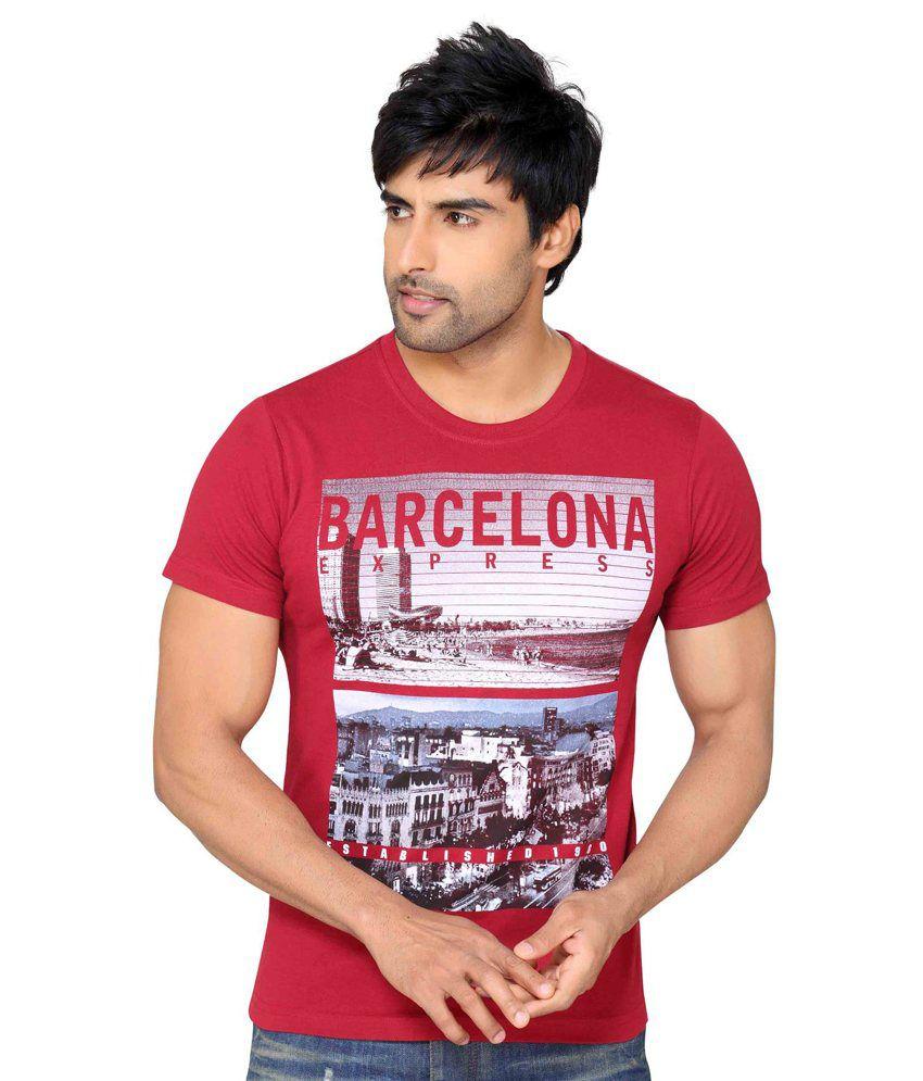 Astron Stylish Maroon Round Neck Sinker Half Sleeves Printed Tshirt For Men   Astm2p016