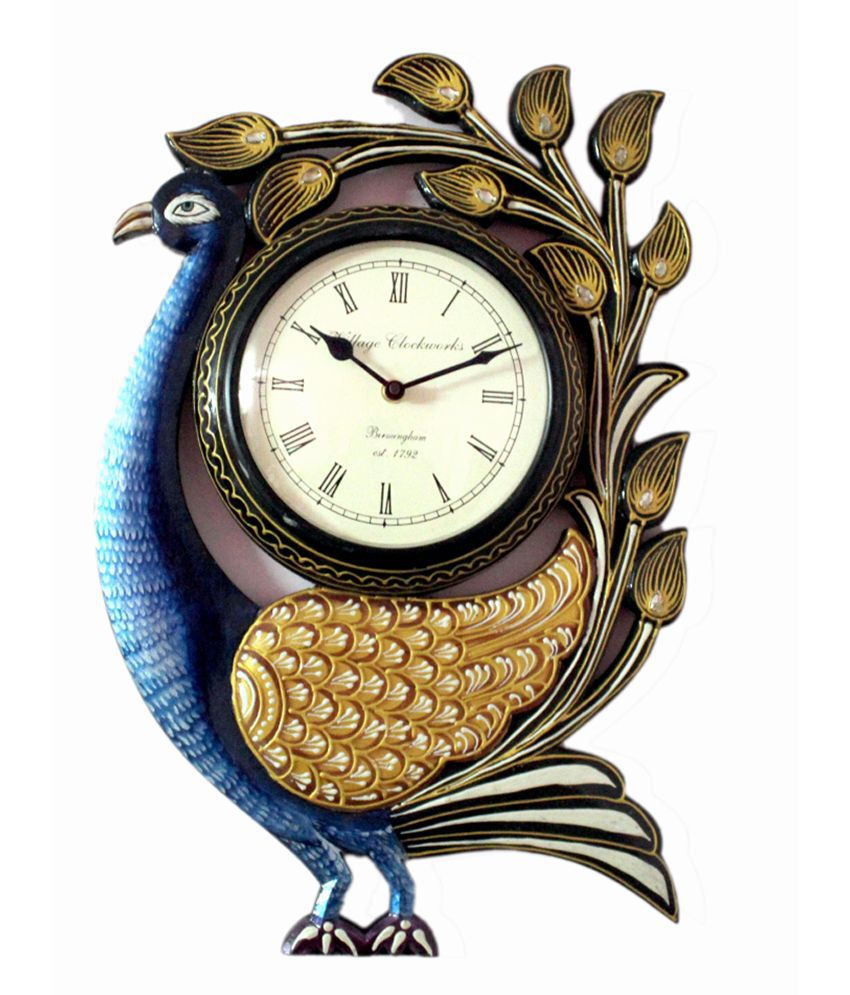 Ethnic India Art Peacock Wooden Carving Wall Clock Buy Ethnic India