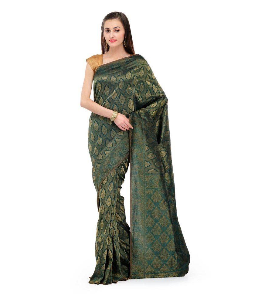 81ff2be8c0 Fabroop Dark Green Banarasi Saree With Blouse Piece - Buy Fabroop Dark  Green Banarasi Saree With Blouse Piece Online at Low Price - Snapdeal.com