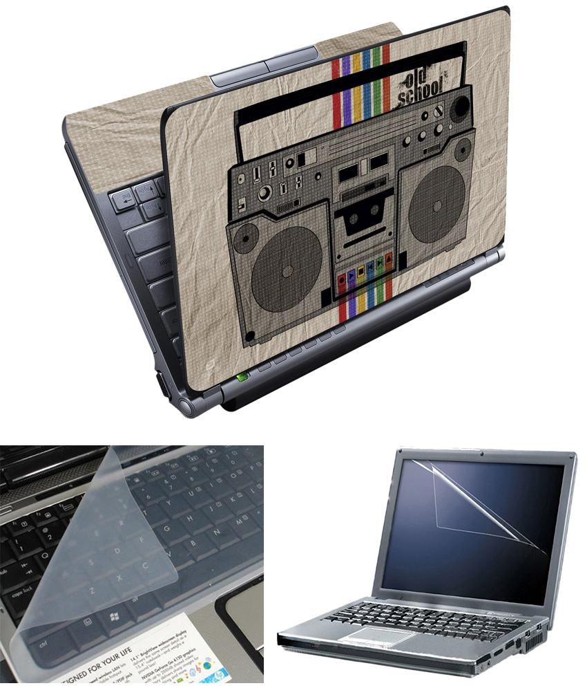 Finearts Full Panel Textured Laptop Skin Radio Printed With Screen Guard And Keyboad Protector