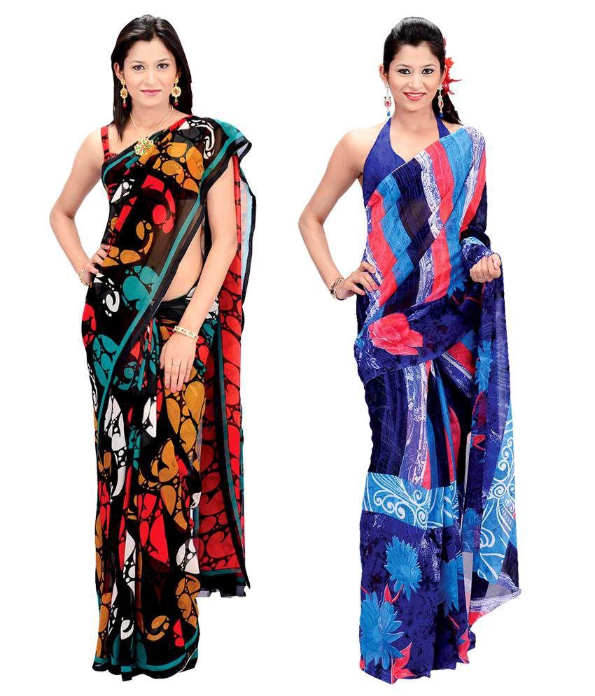 Garima Multi-coloured Printed Faux Gorgette Saree