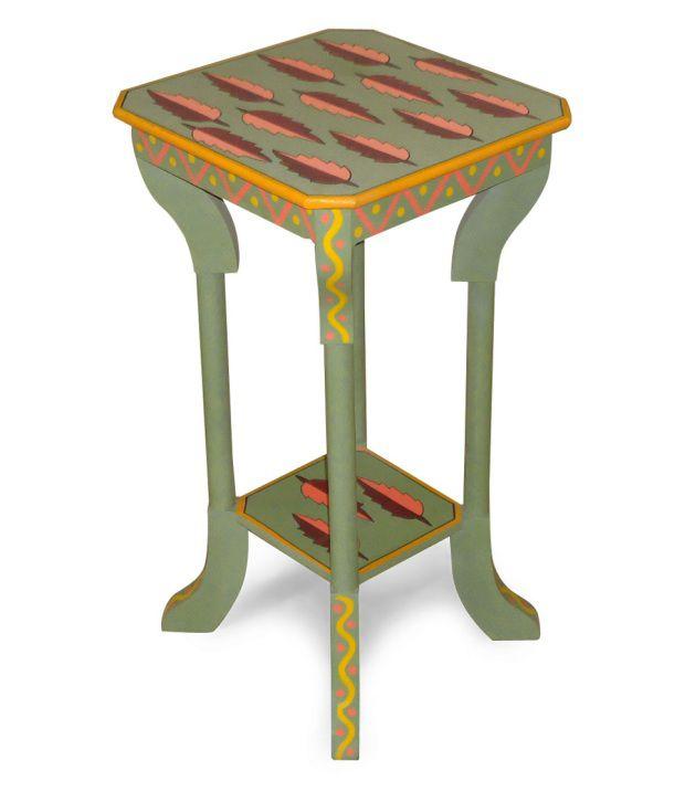 Kings Kraft Green Painted Wooden Pedestal