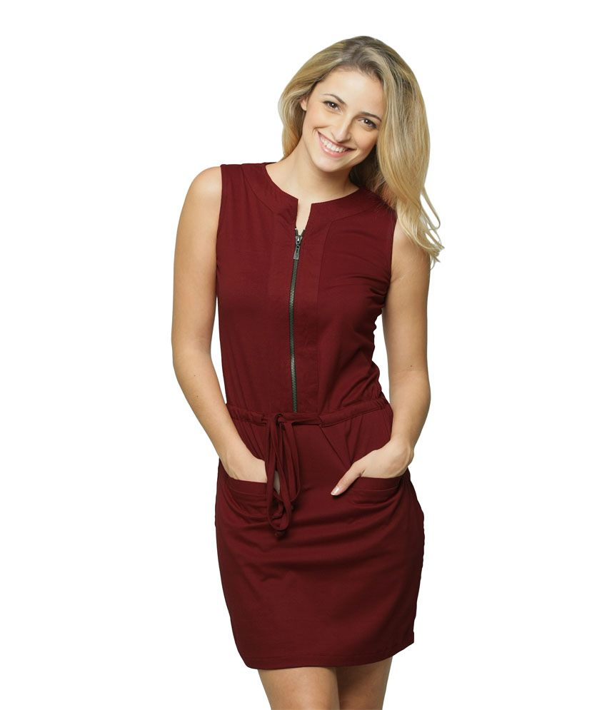 0687d2d10a5a Miss Chase Maroon Cotton Mini Shift Dresses For Women Round Neck Casual  Wear - Buy Miss Chase Maroon Cotton Mini Shift Dresses For Women Round Neck  Casual ...