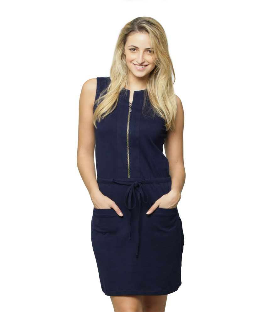 Miss Chase Cotton Navy Dresses