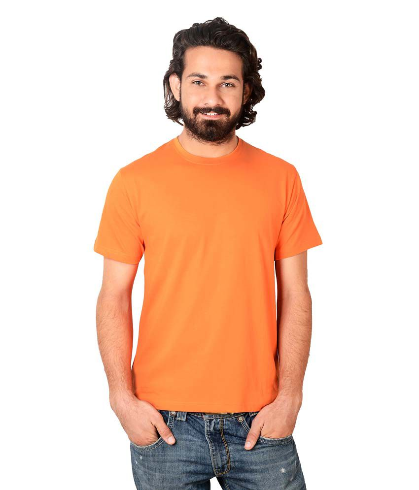 Stop & Select Orange Round Neck T Shirt