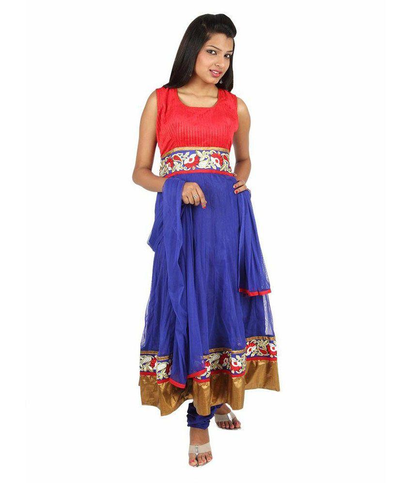 Fashiontra Multi-colour Chanderi Anarkali Salwar Suit