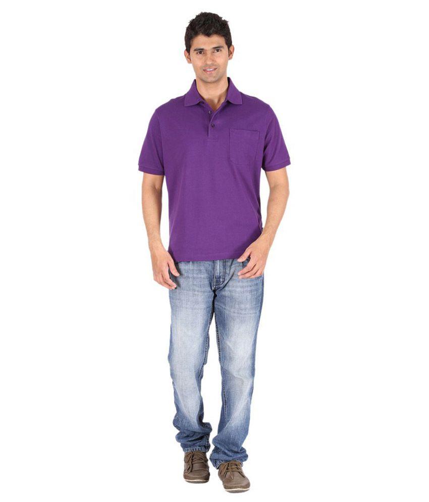 Furore men 39 s cotton purple polo t shirt with pocket buy for Men s cotton polo shirts with pocket