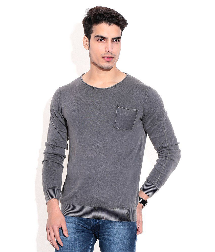 Jack & Jones Gray Cotton  T-Shirt