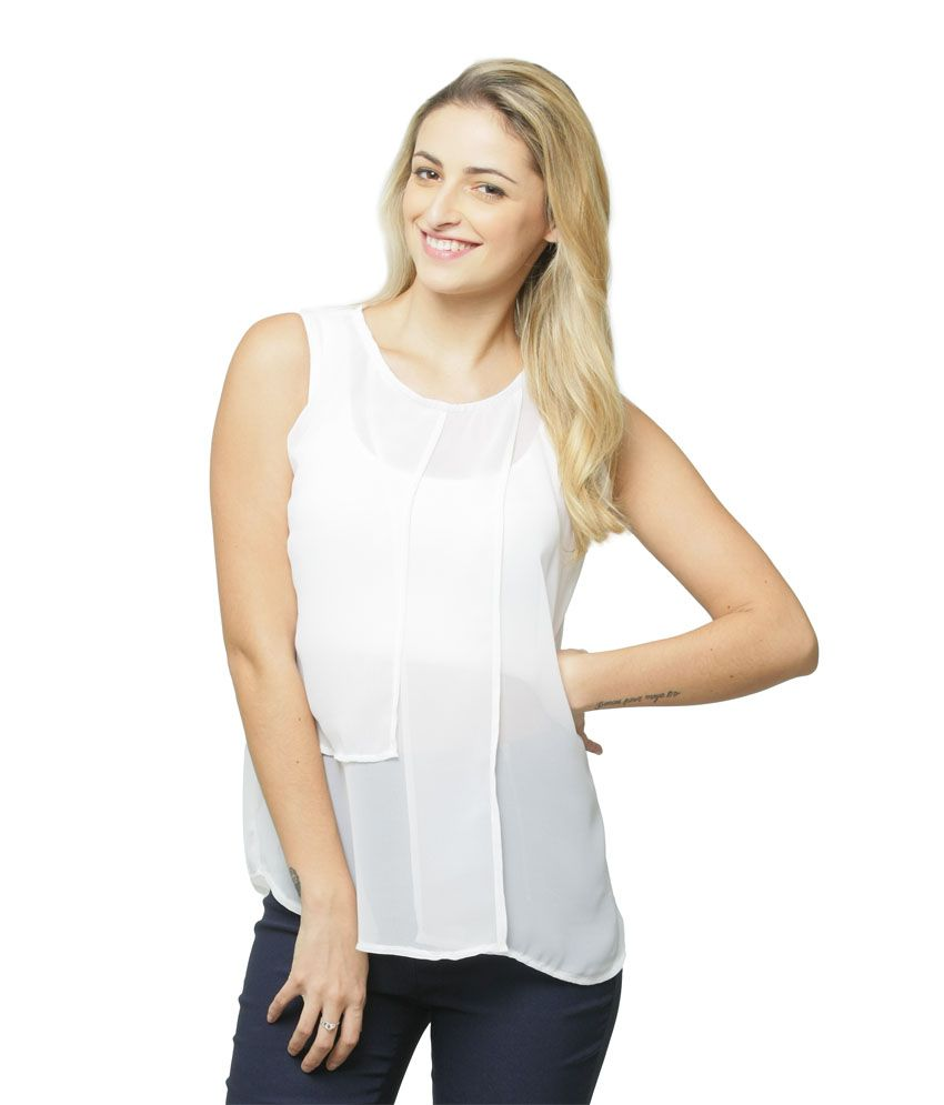 Miss Chase Poly Georgette Regular Tops   White