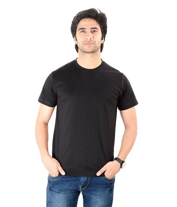 Moskh Apparels Black Plain Round Neck T Shirt