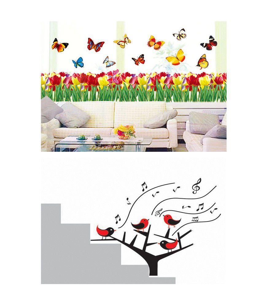 Pindia multicolour flower butterfly border singing birds design wall sticker buy 1 get 1 buy pindia multicolour flower butterfly border singing