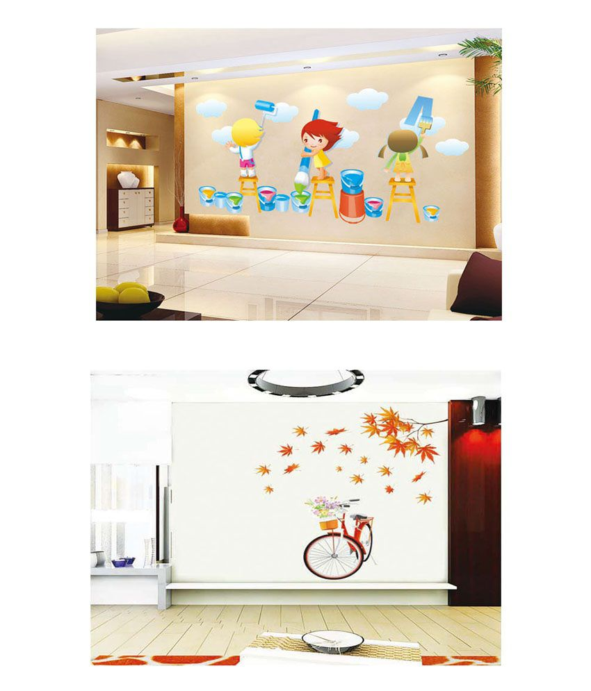 PINDIA Multicolour Painting Kids & Cycle With Flower Basket Design Wall Sticker - Buy 1 Get 1
