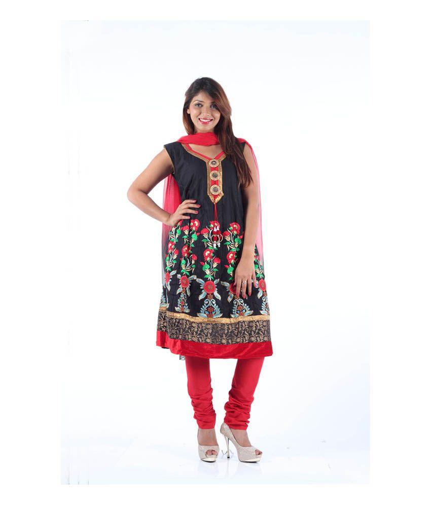 Sai Ruchi Black Embroidered Cotton Anarkali Dress Material