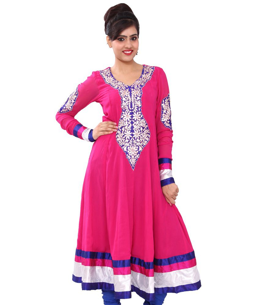 Chhipaprints Pink Pure Georgette Embroidered Kurti