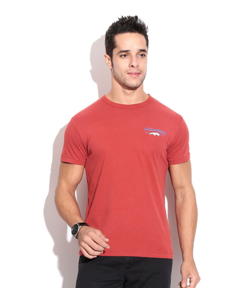 Jack & Jones Red Cotton  T-Shirt