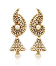 Jewels Galaxy Paisley Design Pearls Embedded Earrings