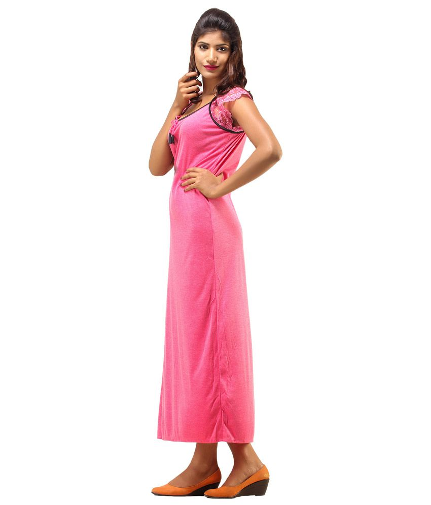 Buy Desiharem Pink Poly Satin Nighty Online at Best Prices in India ... a9f321f27