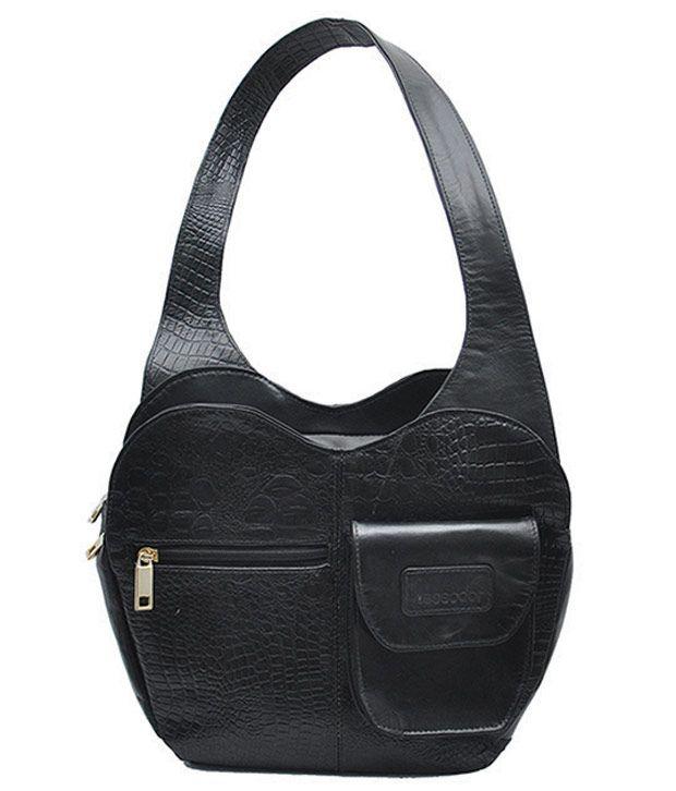 Tessodor Women Black Small Croco Handbag
