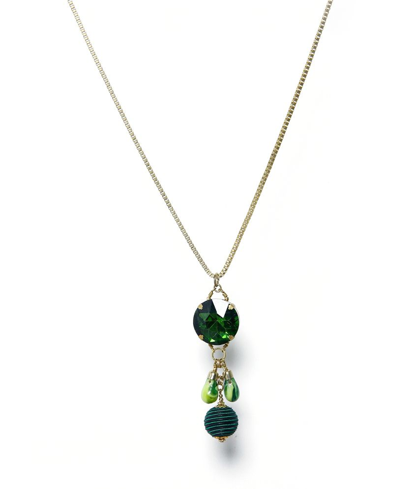 necklace p long green pendant silver stone