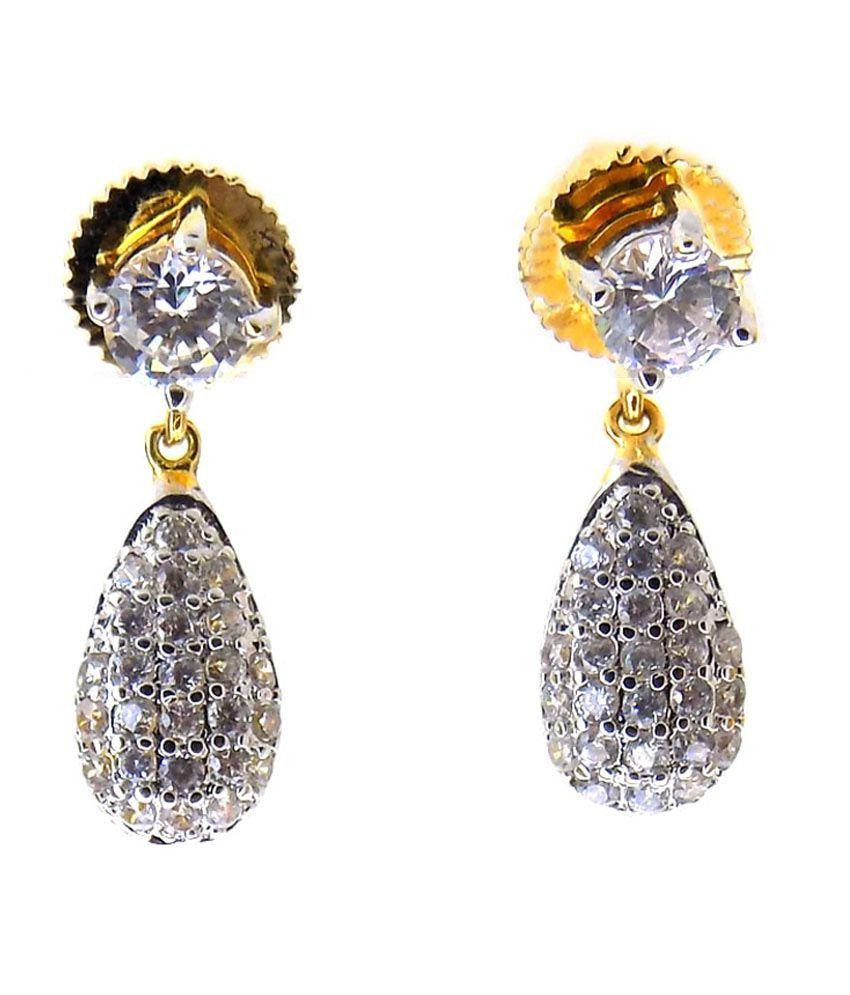 Aabhushan Jewels American Diamond Gold Plated Earrings For Women