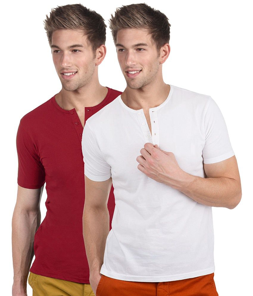 Blackburne Inc Red & White Half Slevees Henley T-shirt Pack Of 2