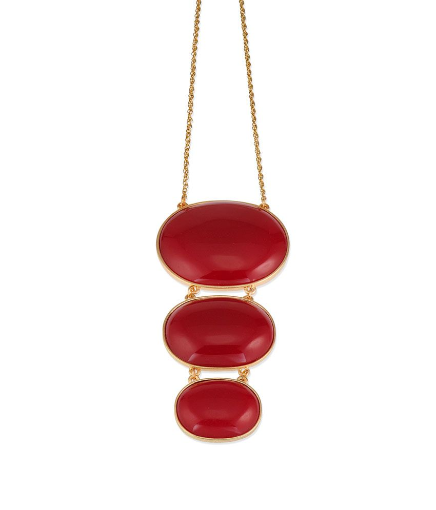 Fayon Part Style Diva Red Gemstone Unique Style Necklace With Earrings