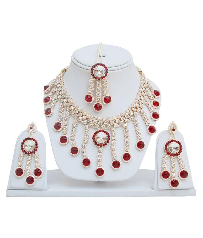Lucky Jewellery Maroon Rose Patwa Set