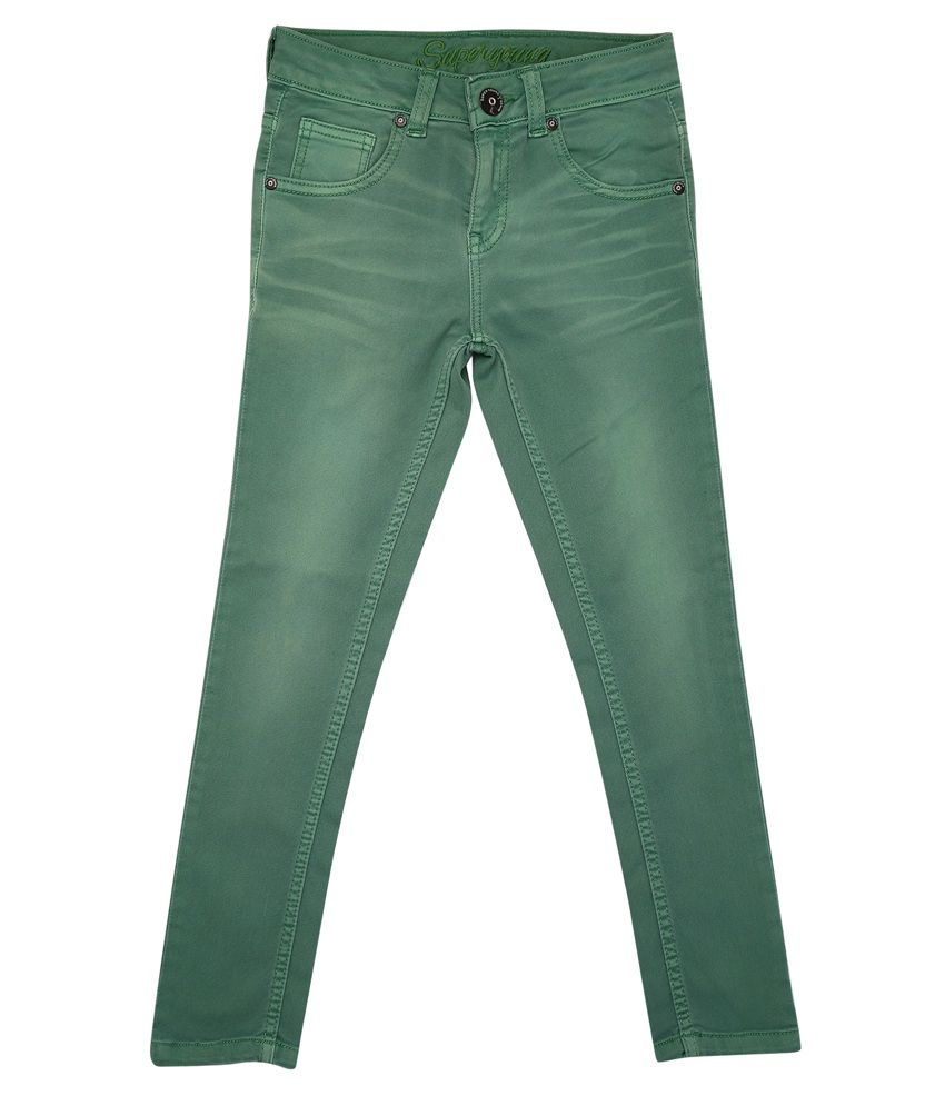 Superyoung Green Od Denim Pant For Girls