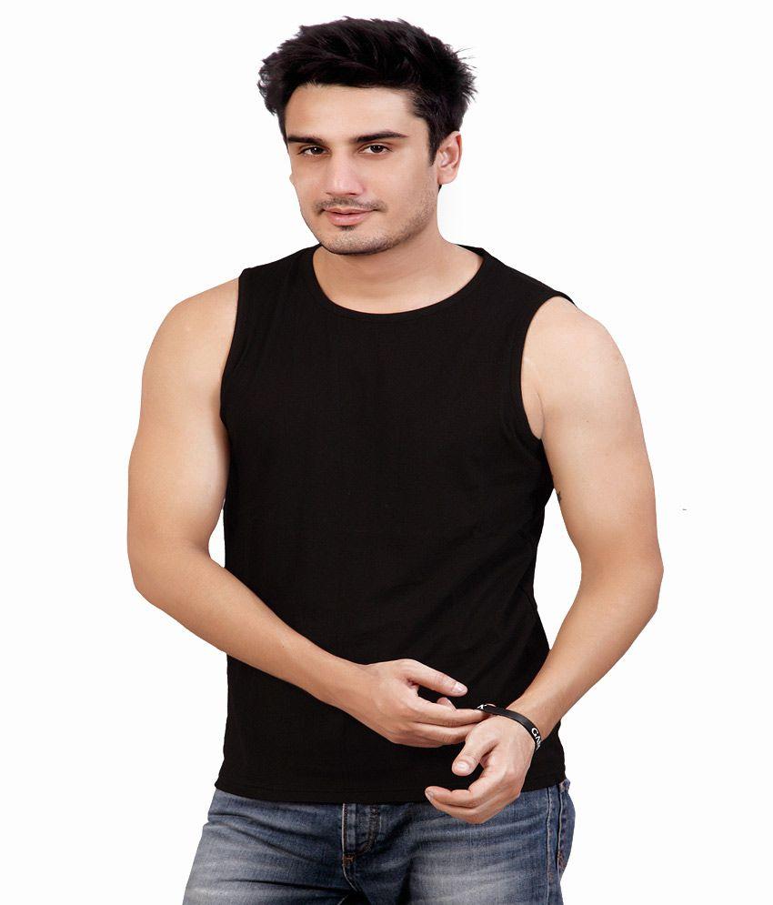 Stephen Armor Black Solid Cotton Round Neck Sleeveless T-shirt