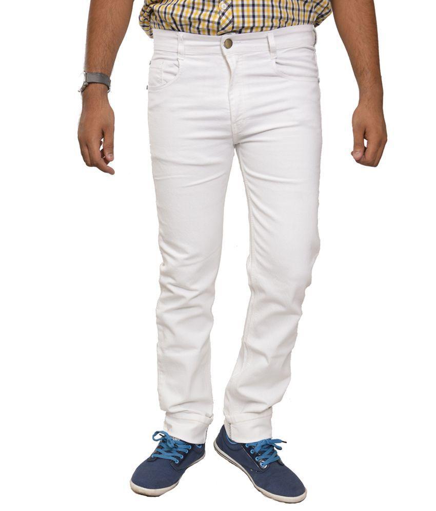 Studio Nexx White Cotton Regular Fit Men's Jeans