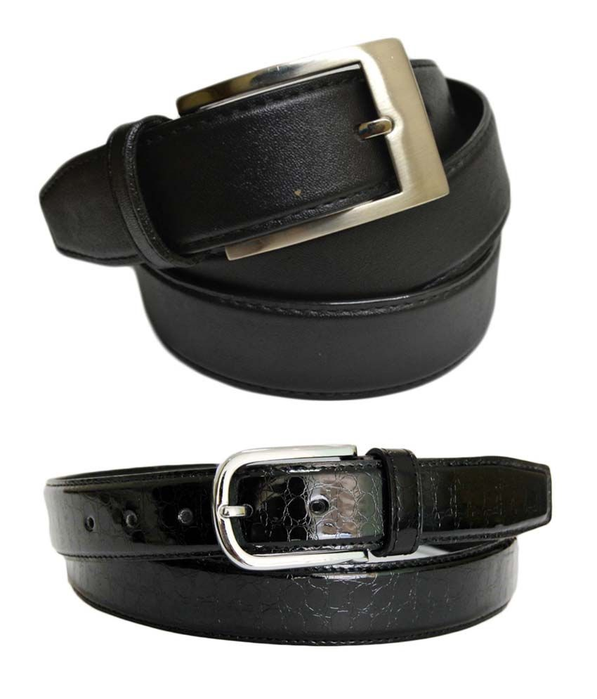 Skyways Black Formal Single Belt ForMen (Pack of 2)