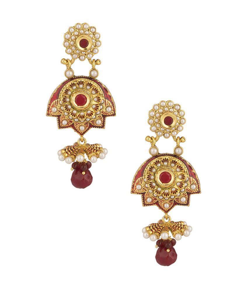 Voylla Festive Floral Earrings Brilliantly Decorated With Red Color Stones And Pearl Beads