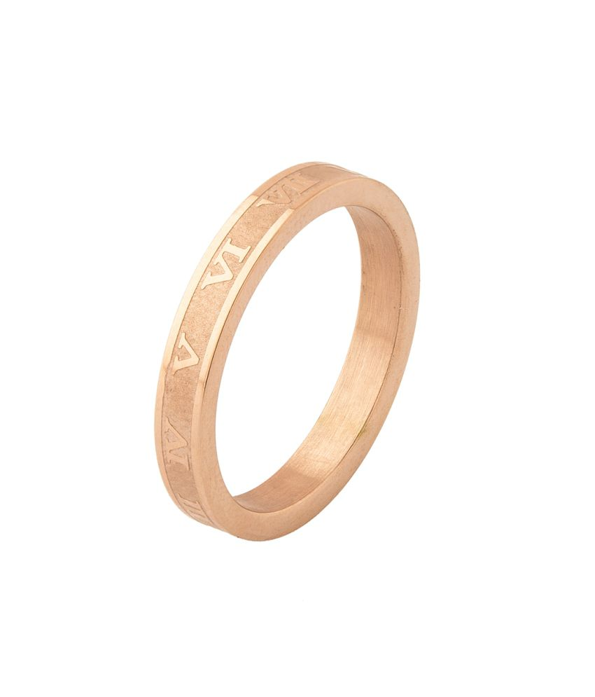 Voylla Rose Gold Plated Stainless Steel Ring Engraved With Roman Numerals, Size 19.0