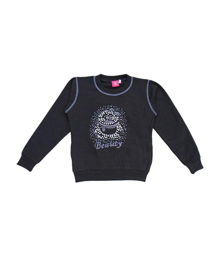 Sweet Angel Full Sleeves Black Trendy Sweat Shirt