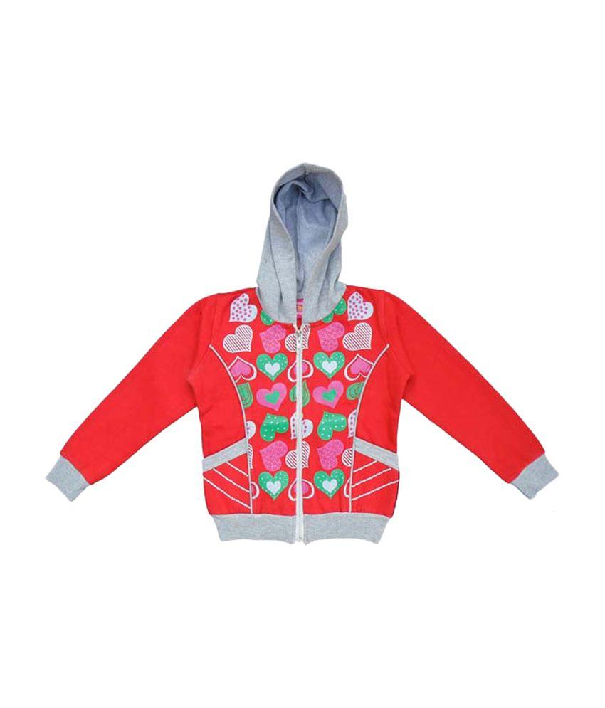 Sweet Angel Full Sleeves Red Hooded Sweat Shirt