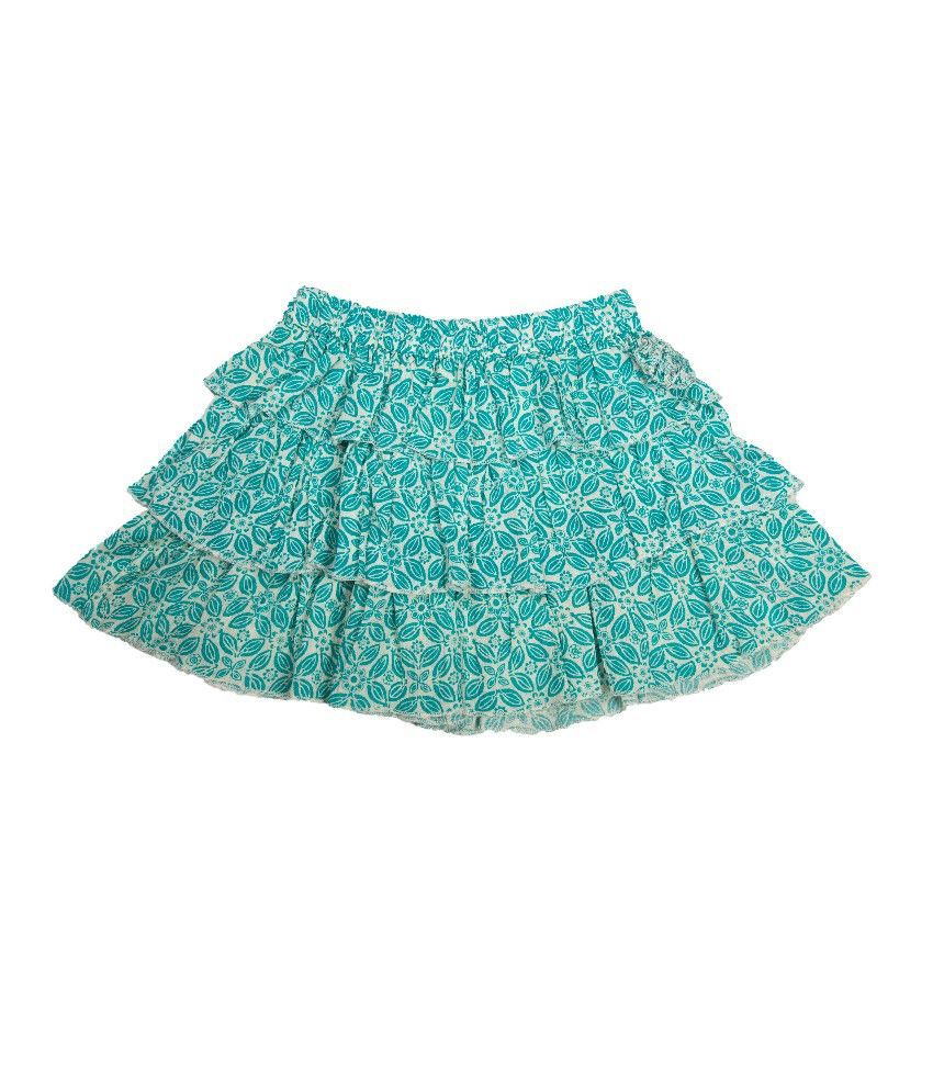 UFO Green Color Printed Skirts For Kids