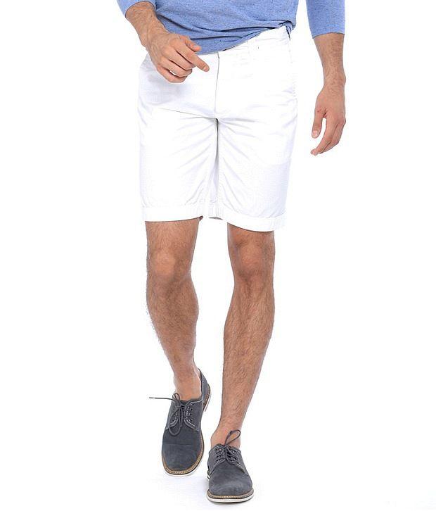 Basics White Cotton Solids Shorts