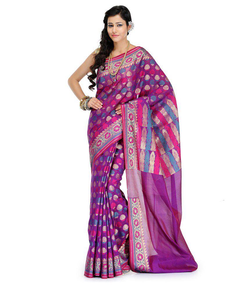 Fabroop Purple Cotton Silk Banarasi With Blouse Piece